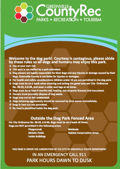 Conestee dog park rules