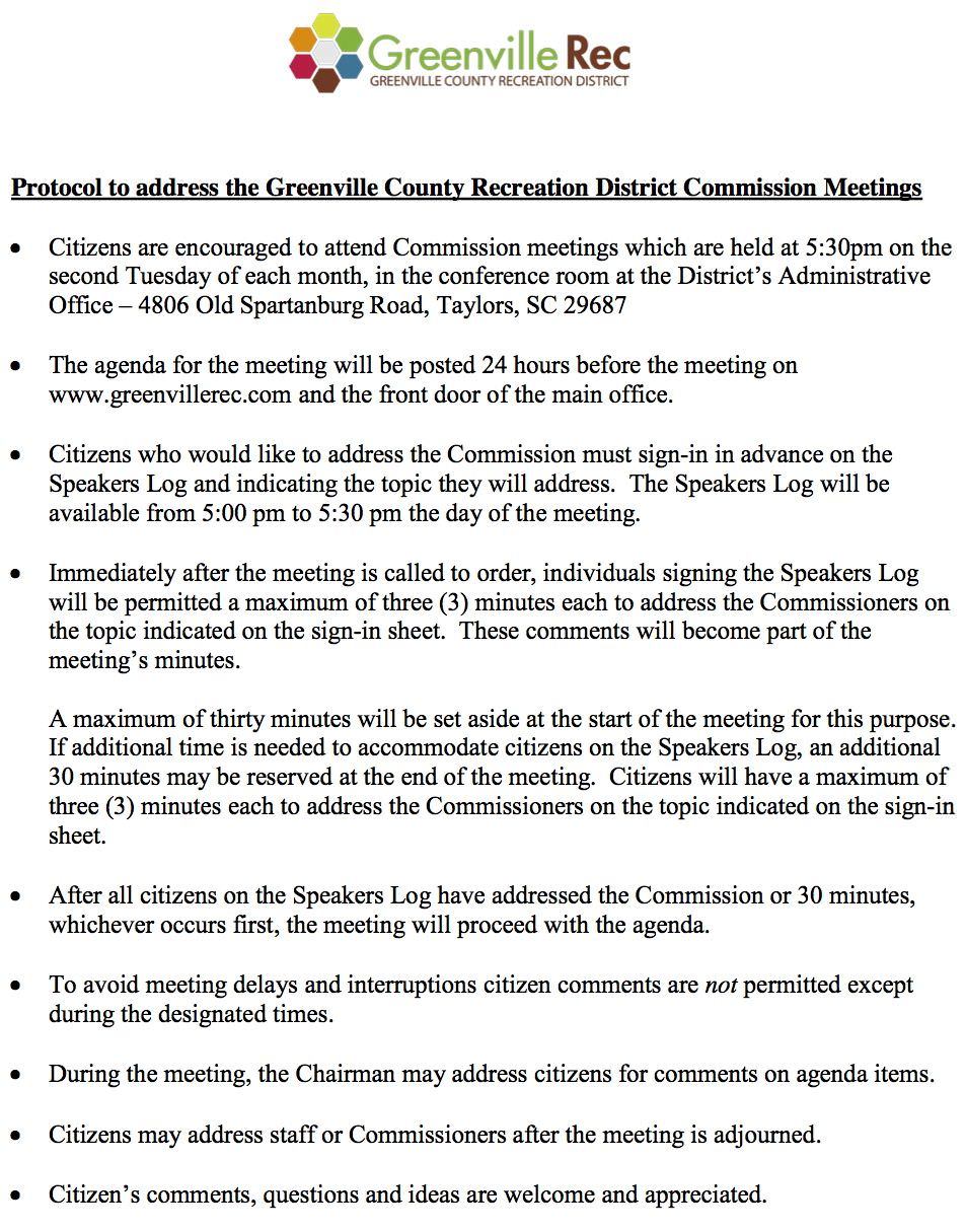 Protocol for Citizens To Address GCRD Commission Mtg