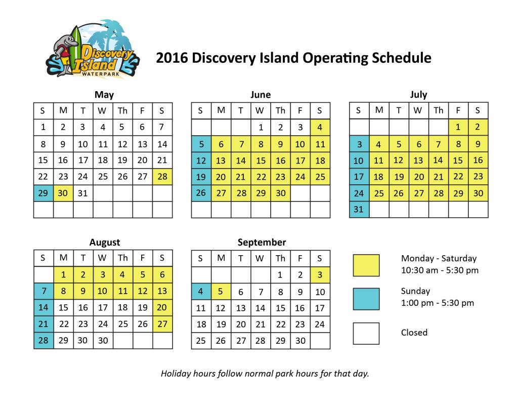 Discovery Island Calendar 2016-01