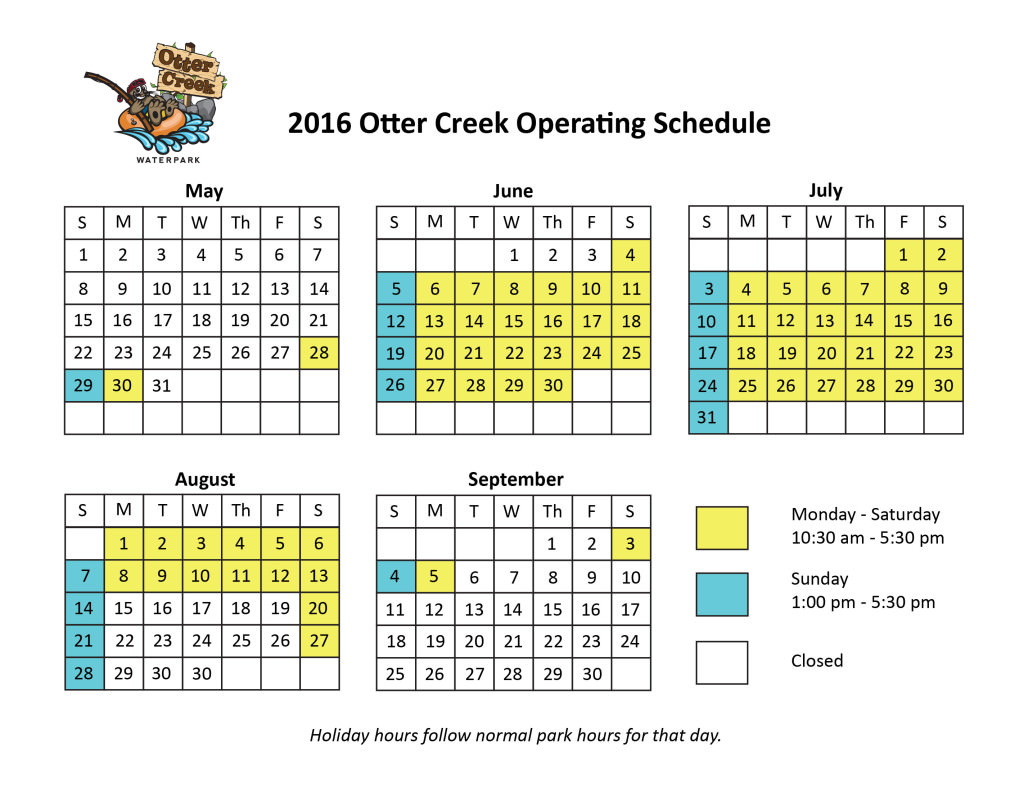 Otter Creek Calendar 2016-02