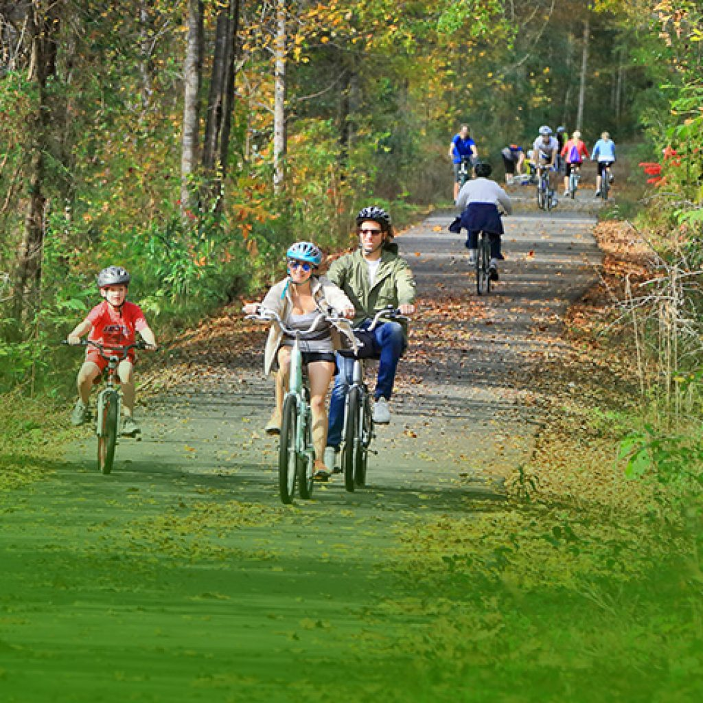 people enjoying riding bikes on the trail in fall