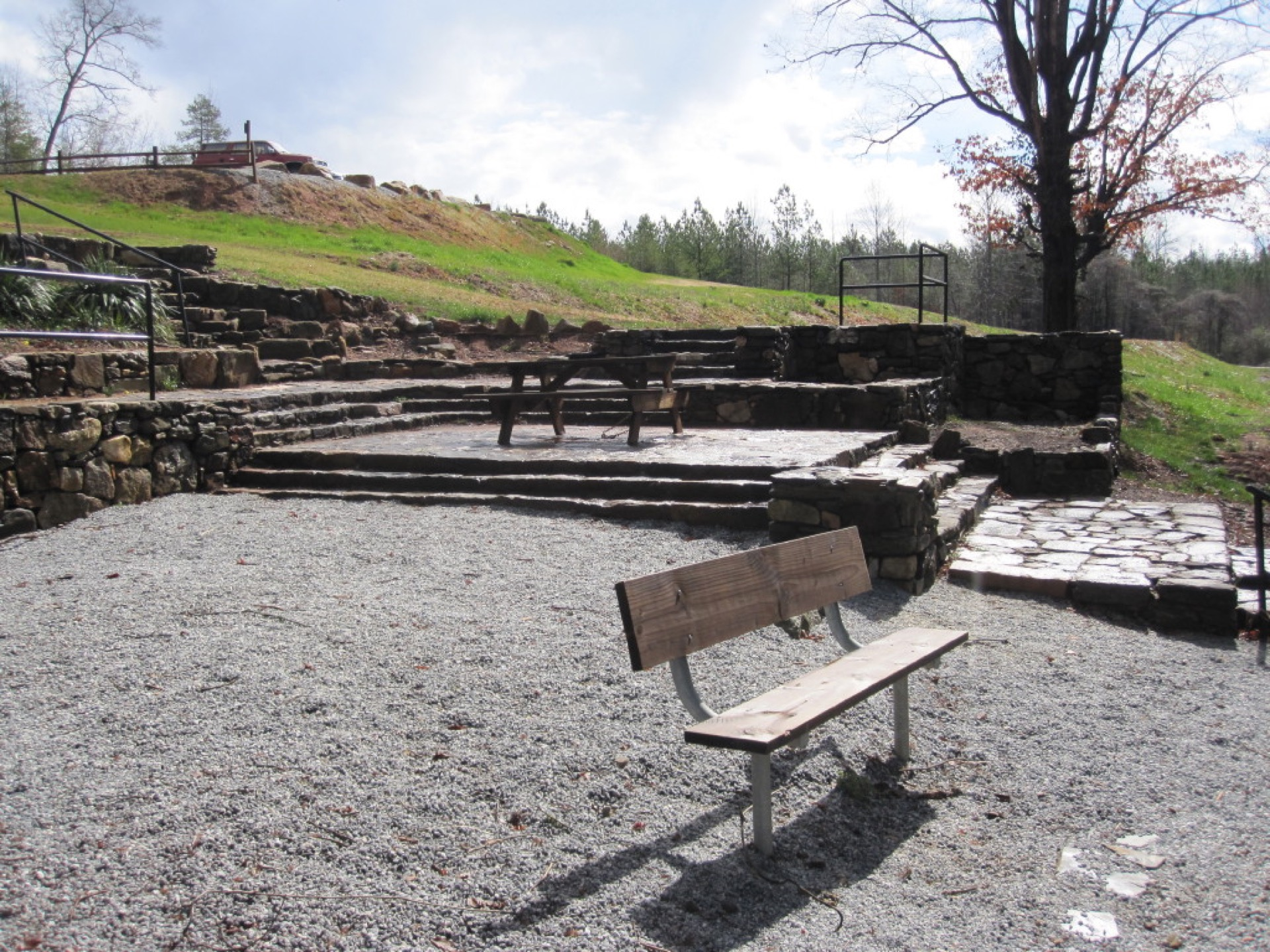bench and picnic area
