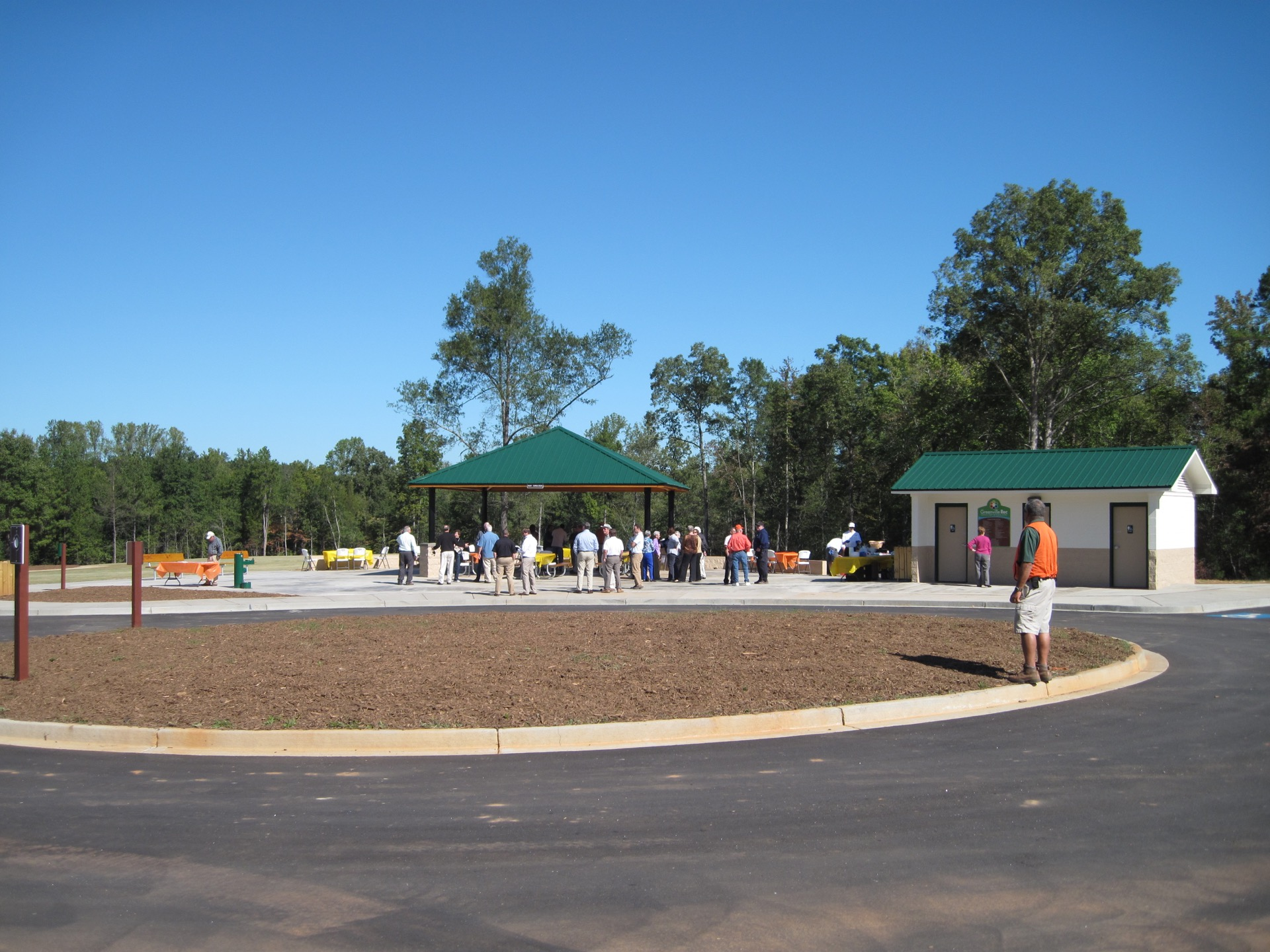 people congregating under a shelter