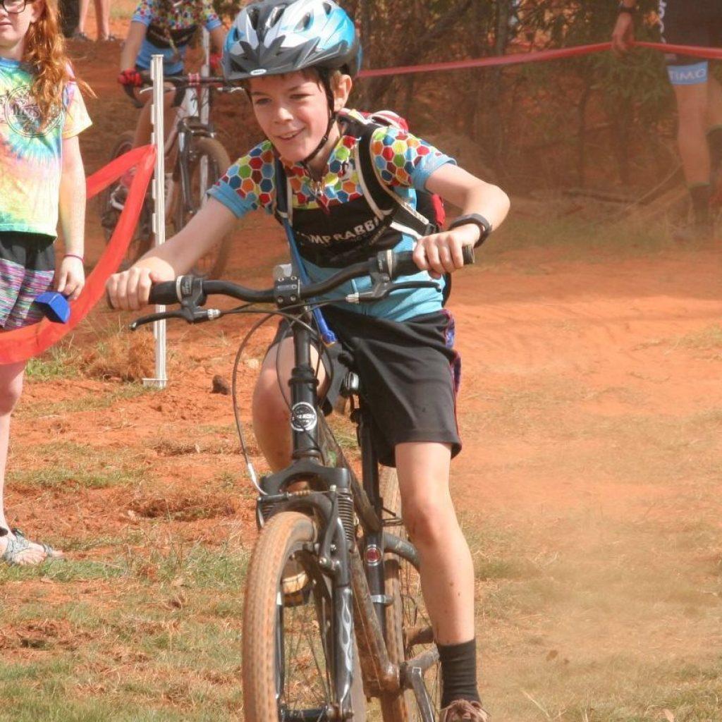 Happy boy racing