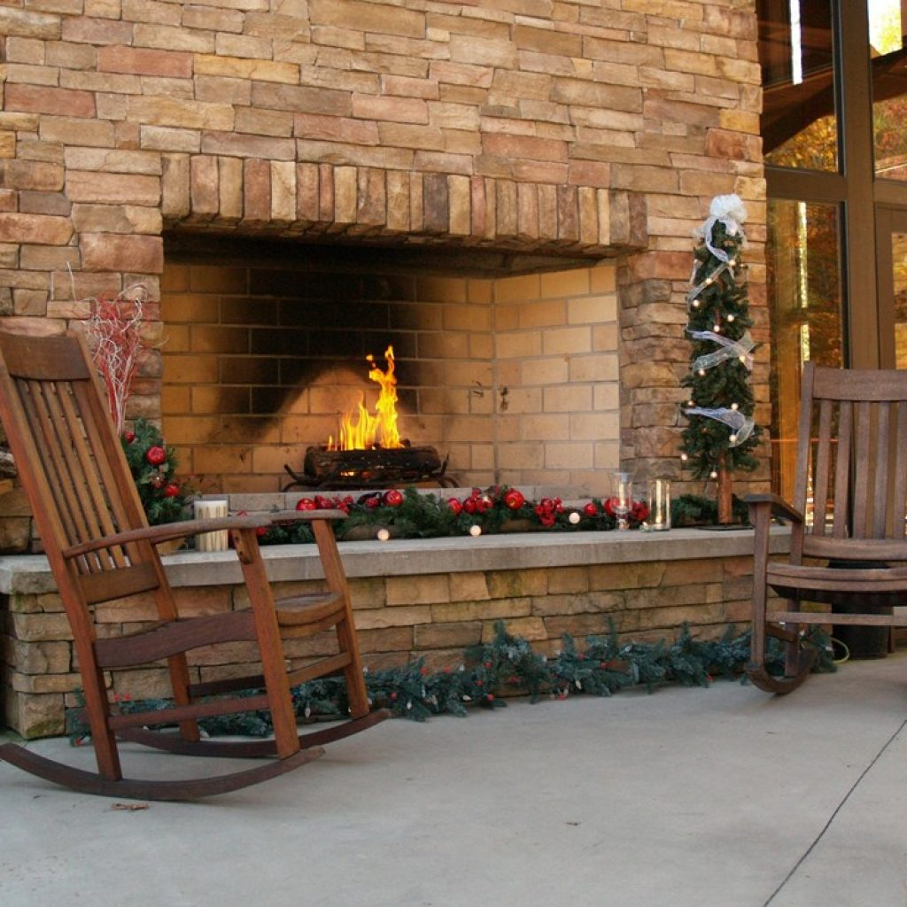 fireplace with holiday decorations