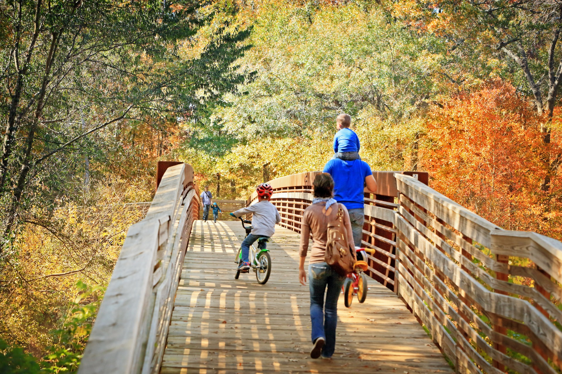 family riding bikes across bridge in the woods