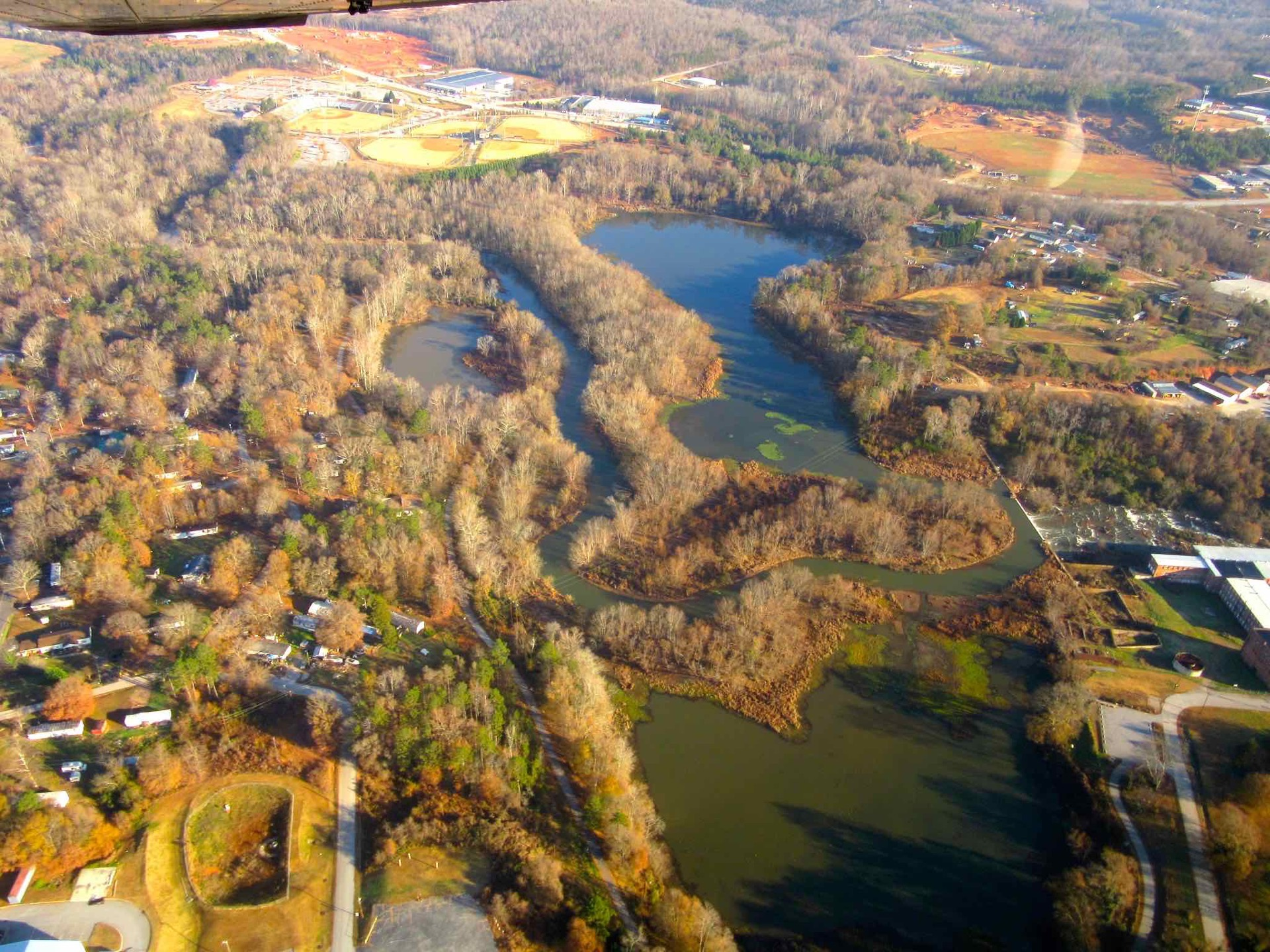 lake conestee nature park aerial view