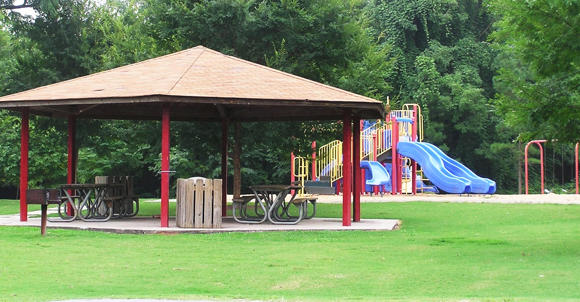 Playground and picnic shelter at Shoeless Joe