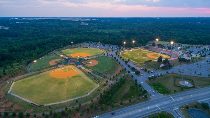 Conestee park at sunset from above