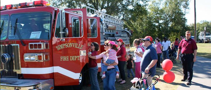 Simpsonville Fire Department With Crowd of People
