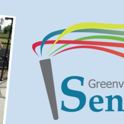 senior games logo with photos of seniors playing sports